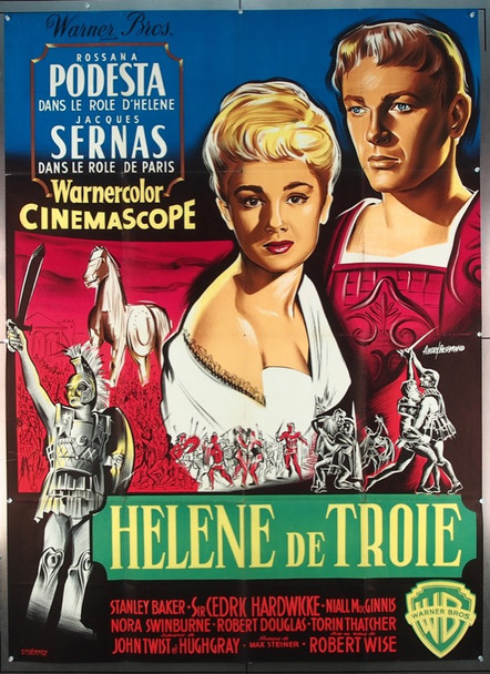 HELEN OF TROY (1956) 4720 Warner Brothers Original French Grande Poster   47x63  Folded   Fine Plus