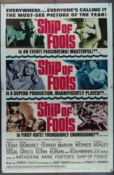 SHIP OF FOOLS (1965) 11215 Columbia Pictures One Sheet Poster  27x41  Folded  Very Good Condition