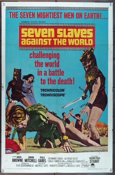 SEVEN SLAVES AGAINST THE WORLD (1965) 11210 Paramount Original One Sheet Poster   27x41  Folded  Very Good Plus Condition
