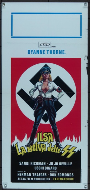 ILSA SHE WOLF OF THE SS (1975) 15682 Cinepix Original Italian Locandina   13x28  Very Good Condition  Folded