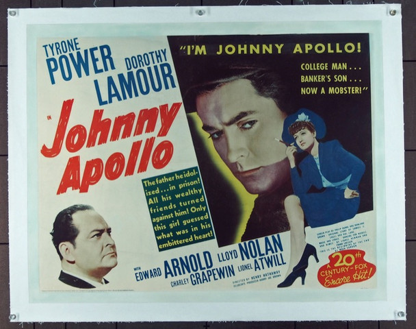 JOHNNY APOLLO (1940) 14774 Original 20th Century-Fox Half Sheet Poster (22x28).  Linen-Backed.  Fine Plus Condition.