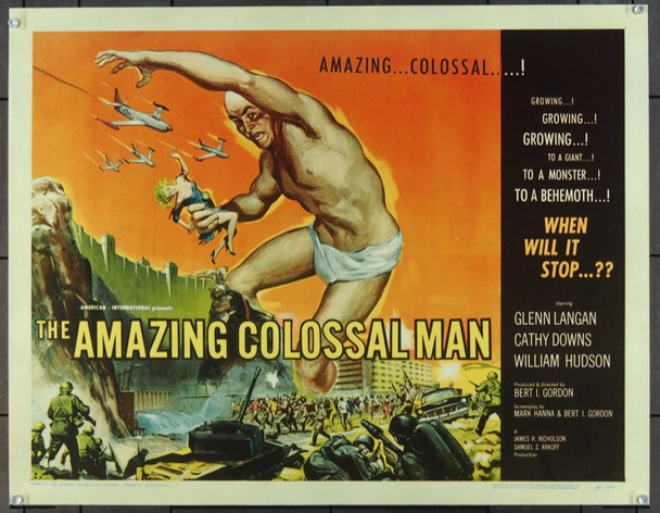 AMAZING COLOSSAL MAN, THE (1957) 15939 Original American International Pictures Half Sheet Poster (22x28).  Paper-Backed.  Fine Plus Condition.