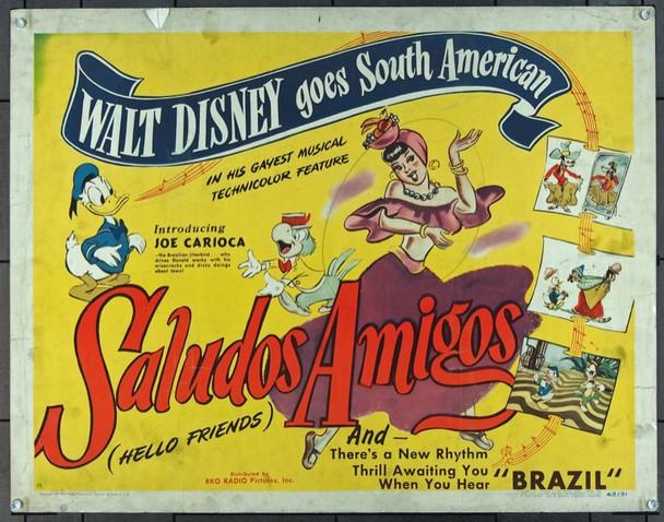 SALUDOS AMIGOS (1943) 913 Original Walt Disney Company Original Half Sheet Poster   22x28  Rolled  Very Good