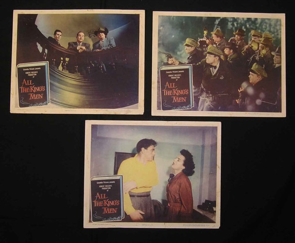 ALL THE KING'S MEN (1950) 2498 Columbia Pictures Original Group of Three Scene Lobby Cards (11x14).   Fine Plus Condition.