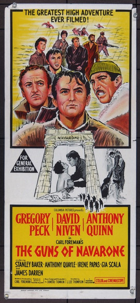 GUNS OF NAVARONE, THE (1961) 12702 Columbia Pictures Original Australian Daybill Poster (14x30) Folded.  Fine Condition