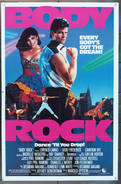 BODY ROCK (1984) 3542 Original New World Pictures One Sheet Poster (27x41).  Folded.  Near Mint.