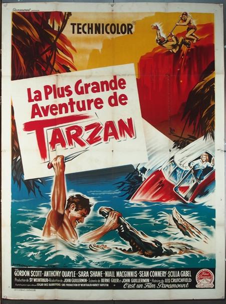 TARZAN'S GREATEST ADVENTURE (1959) 9373 Original French Grande Poster (47x63).   Folded.  Very Good Plus to Fine Condition.