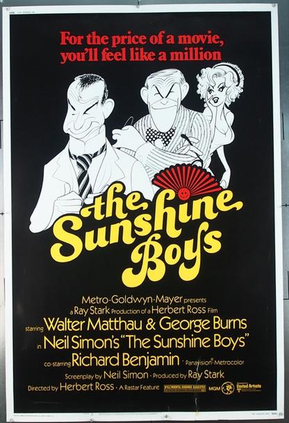SUNSHINE BOYS, THE (1975) 7256 Original MGM 40x60 Poster.  Al Hirschfeld Art.  Rolled.  Fair To Good Condition.