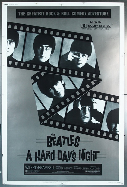HARD DAY'S NIGHT, A (1964) 7254 Original United Artists 1982 Re-Release 40x60 Poster.  Rolled.  Fine Plus Condition.