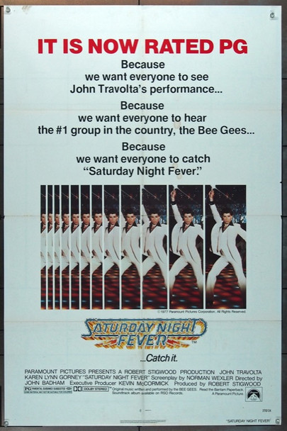 SATURDAY NIGHT FEVER (1977) 16549 Paramount Pictures Original One Sheet Poster (27x41) Folded  Very Fine Condition