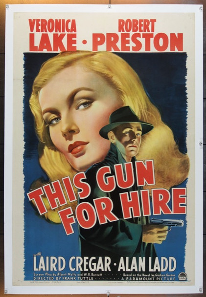 THIS GUN FOR HIRE (1942) 22658 Original Paramount Pictures One Sheet Poster (27x41).  Linen-Backed.  Very Fine.