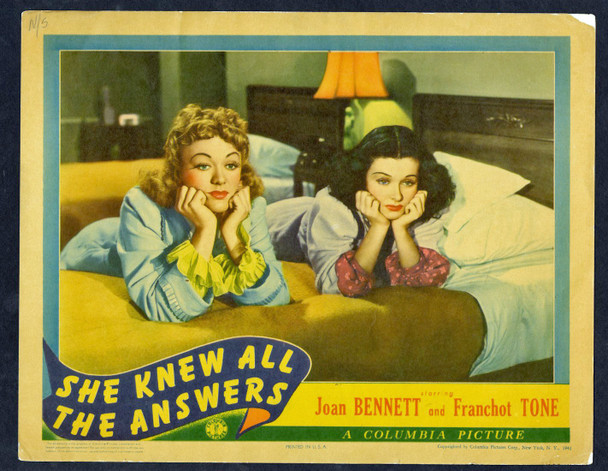 SHE KNEW ALL THE ANSWERS (1941) 2547 Original Columbia Pictures Scene Lobby Card (11x14).   Fine Plus Condition.  EVE ARDEN and JOAN BENNETT