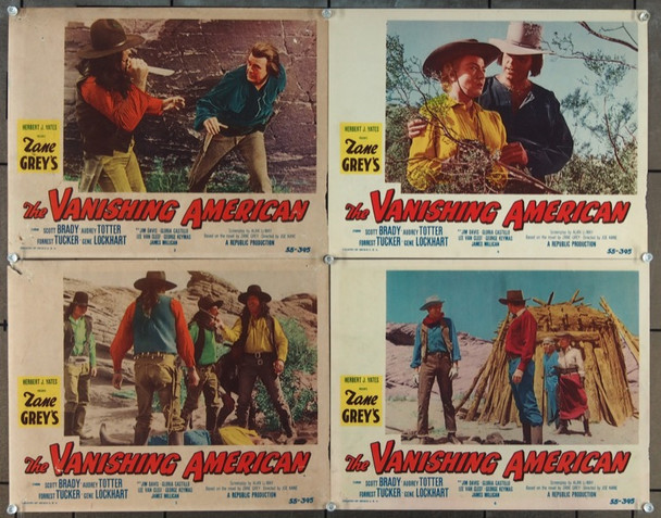 VANISHING AMERICAN, THE (1955) 25719 Original Republic Pictures Group of Four Scene Lobby Cards (11x14).  Very Good Plus Condition.