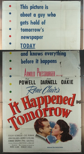 IT HAPPENED TOMORROW (1944) 10157 Original United Artists Three Sheet Poster (41x81).  Folded.  Very Good.