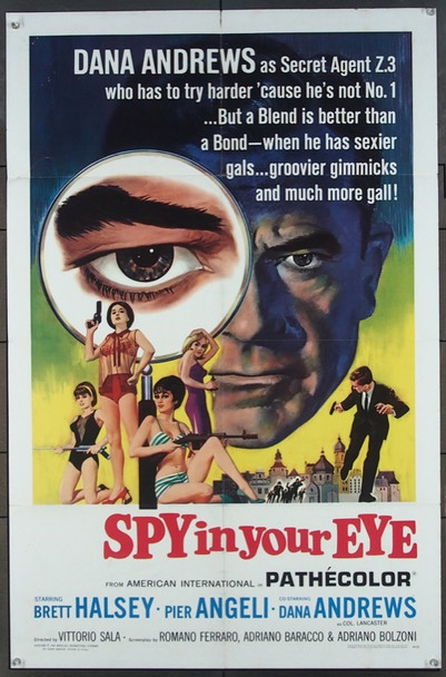 SPY IN YOUR EYE (1965) 3582 American International U.S. One Sheet Poster  (27x41) Folded  Very Fine
