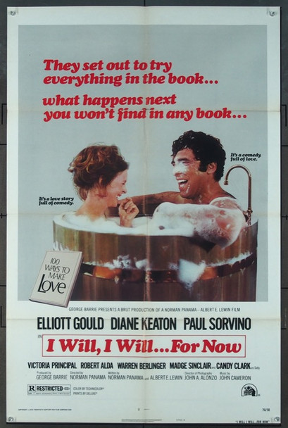 I WILL, I WILL...FOR NOW (1976) 4769 20th Century Fox Original One Sheet Poster  (27x41)  Folded  Fine Plus Condition