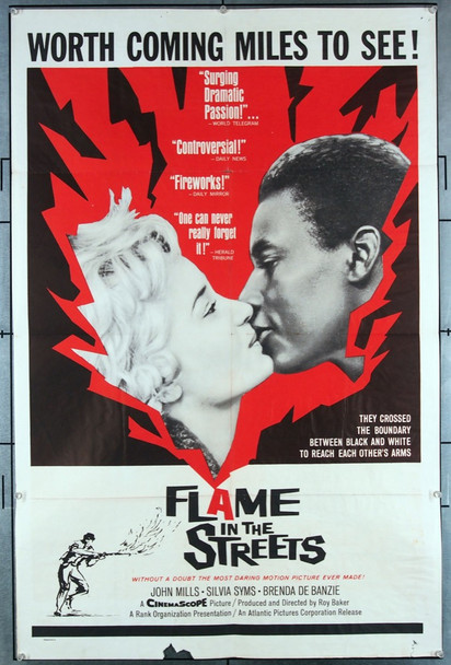 FLAME IN THE STREETS (1961) 4096 Rank Studios American One Sheet Poster (27x41).  Folded.   Very Good Condition