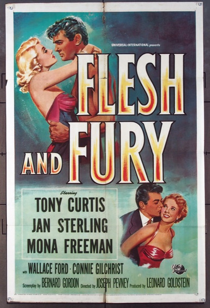 FLESH AND FURY (1952) 4099 Universal Pictures Original One Sheet Poster (27x41).  Folded.   Very Good Condition.