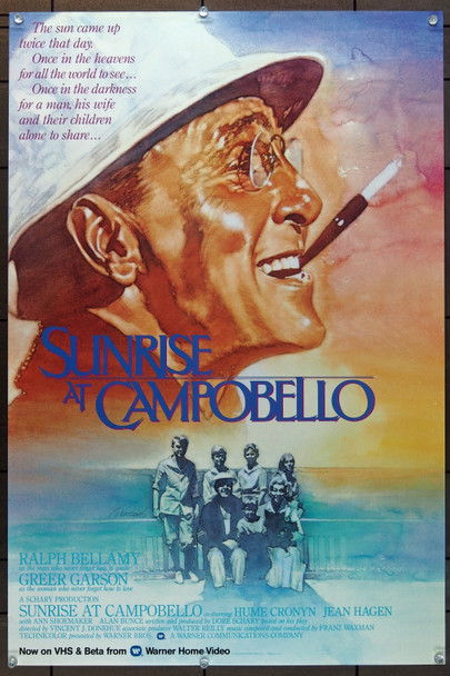 SUNRISE AT CAMPOBELLO (1960) 4466 Warner Brothers Home Video Release Poster (20x30) Rolled Very Fine