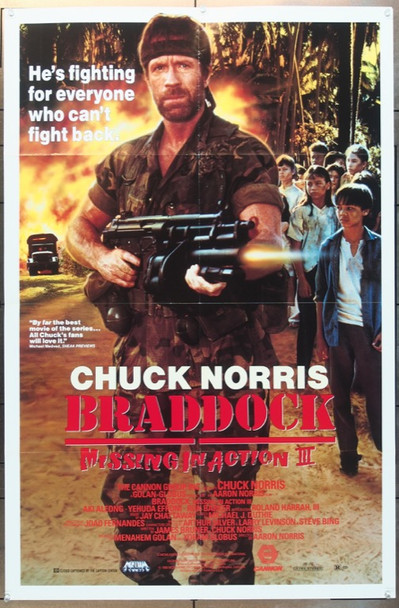 BRADDOCK:  MISSING IN ACTION III (1988) 2045 Cannon Pictures Original One Sheet Poster (27x41) Folded  Very Fine Condition