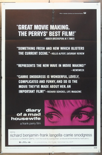 DIARY OF A MAD HOUSEWIFE (1970) 2048 Universal Pictures Original One Sheet Poster (27x41) Folded  Fine Plus Condition
