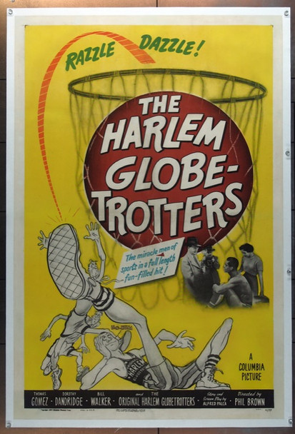 HARLEM GLOBETROTTERS (1951) 2050 Columbia Pictures Original One Sheet Poster (27x41)  Very Good Plus Condition  LInen Backed.