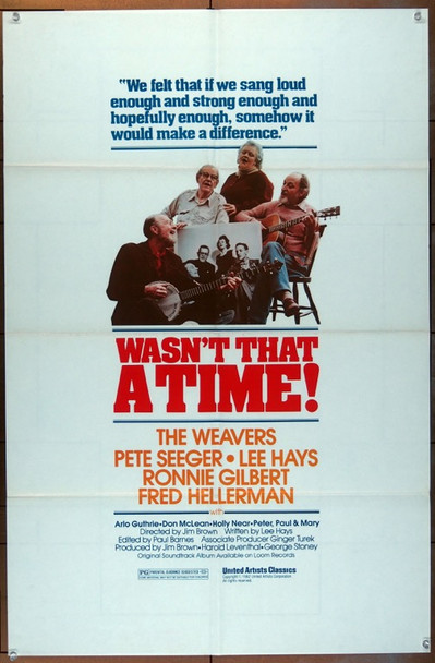 WASN'T THAT A TIME (1982) 19079 United Artists Original One Sheet Poster (27x41).  Folded.  Very Fine Condition.