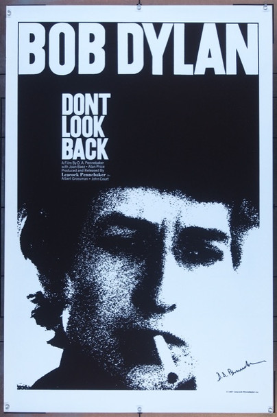 DON'T LOOK BACK (1967) 7954 LEACOCK-PENNEBAKER WORLD PREMIERE POSTER (27X41) UNFOLDED VERY FINE TO NEAR MINT SIGNED