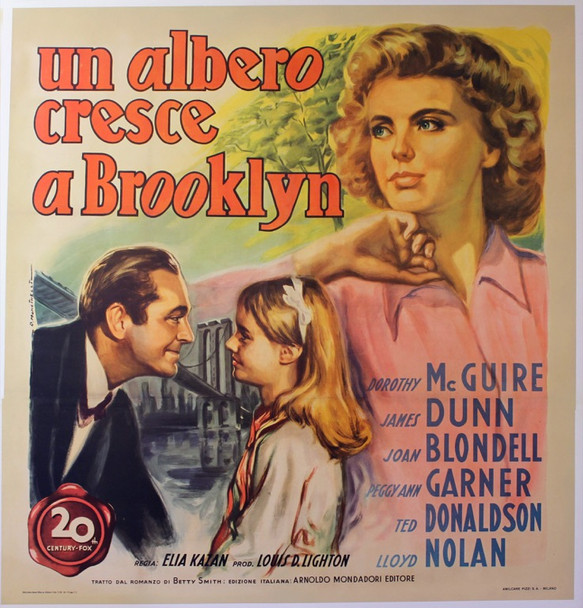 TREE GROWS IN BROOKLYN, A (1945) 24919 20th Century Fox Original Italian 55x57   Special formated four sheet.  Art by Mancinelli   Linen backed.