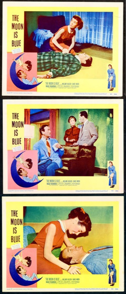 MOON IS BLUE, THE (1953) 9811 United Artists Original Lobby Cards (11x14) Three Cards.  Very Fine Condition