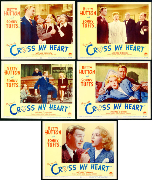 CROSS MY HEART (1946) 9804 Paramount Pictures Original Lobby Cards (11x14)  Five Cards  Very Fine Condition