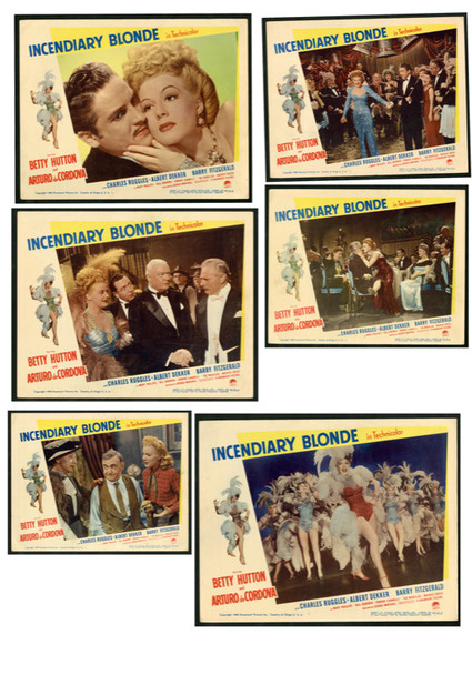 INCENDIARY BLONDE (1945) 9826 Paramount Pictures Original Lobby Cards  (11x14)  Six Cards  Fine Plus to Very Fine