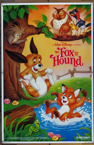 FOX AND THE HOUND, THE (1981) 1676 Walt Disney Company Original One Sheet Poster  27x41  Re-release of 1988.  Never Folded.  Very Fine Plus