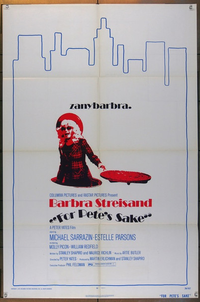 FOR PETE'S SAKE (1974) 1089 Columbia Pictures Original One Sheet Poster  27x41 Folded Very Good to Fine Condition