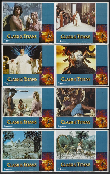 CLASH OF THE TITANS (1981) 10031 MGM/UA Original Lobby Cards  11x14  Complete Set of Eight Cards  Very Fine Plus Condition