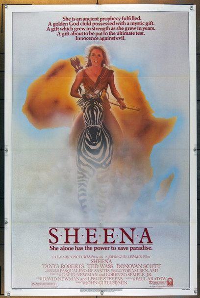 SHEENA (1984) 3184 Original Columbia Pictures One Sheet Poster (27x41).  Folded.  Very Fine Plus Condition.