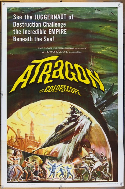 ATRAGON (1963) 8689 Original American International Pictures One Sheet Poster (27x41).  Folded.  Very Fine to Very Fine Plus.