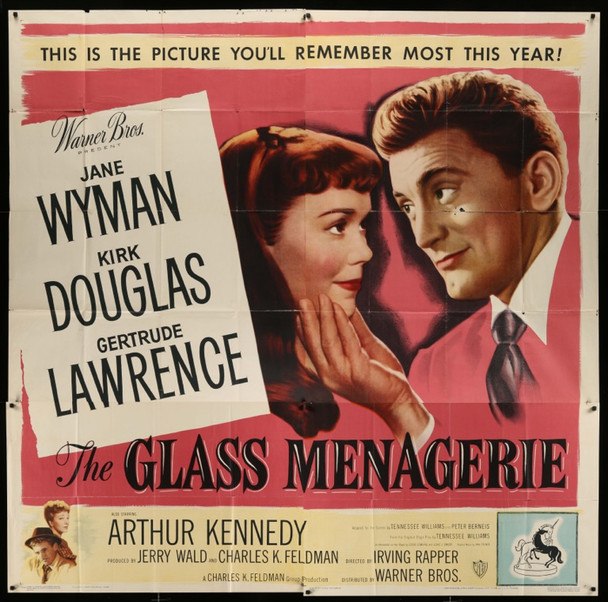 GLASS MENAGERIE, THE (1950) 25941 Original Warner Brothers Six Sheet Poster  81x81  Fine Plus to Very Fine Condition