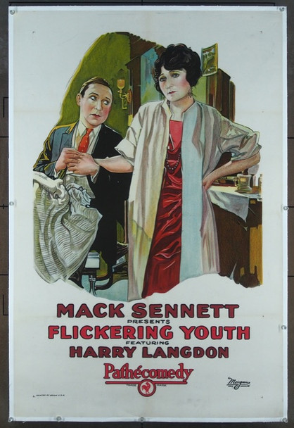 FLICKERING YOUTH (1924) 25798 Pathe Exchange Original One Sheet Poster  27x41 Linen Backed  Very Fine Condition