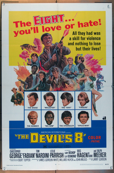 DEVIL'S 8, THE (1969) 3202 American International One Sheet Poster (27x41).   Folded.  Very Good Condition.