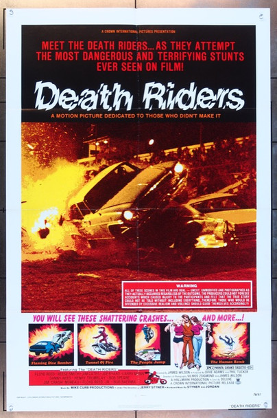 DEATH RIDERS (1976) 3201 Crown International One Sheet Poster ( 27x41).   Folded.   Fine Plus Condition.