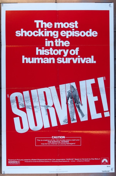 SURVIVE! (1976) 3196 Paramount Original One Sheet Poster (27x41).  Folded.  Very Fine Condition.