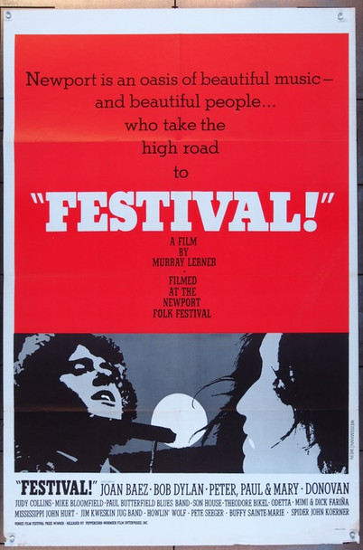 FESTIVAL! (1967) 7207 Original Peppercorn-Wormser One Sheet Poster  27x41  Folded  Fine Plus Condition.
