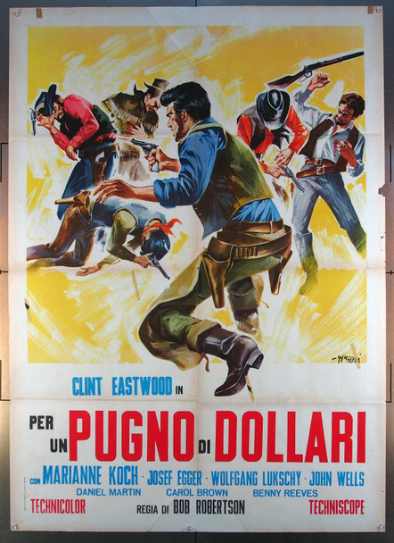 FISTFUL OF DOLLARS, A (1964) 25558 Original 1964 Italian Two-Foglio Poster  Folded  Fine Plus Condition  Art by Sandro Symeoni