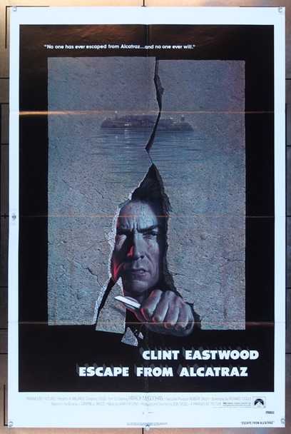 ESCAPE FROM ALCATRAZ (1979) 3683 Paramount Pictures Original One Sheet Poster  27x41  Folded  Very Fine Condition  Art by Birney Lettick