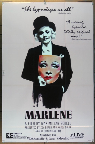 MARLENE (1987) 3041 Alive Film Original Video Release Poster  25 3/4 x 40 Folded  Very Fine