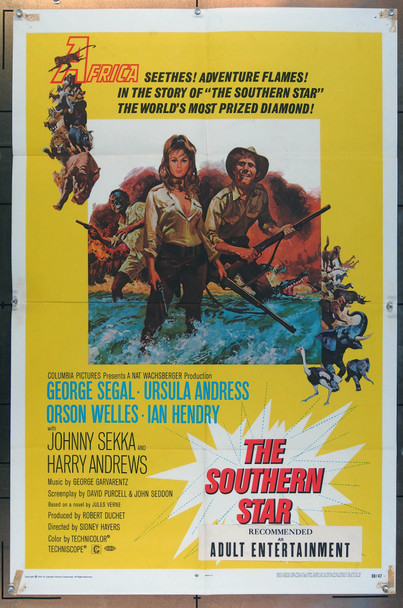 SOUTHERN STAR, THE (1969) 26133 Columbia Pictures One Sheet Poster  (27x41) Folded.  Fine Plus to Very Fine Condition