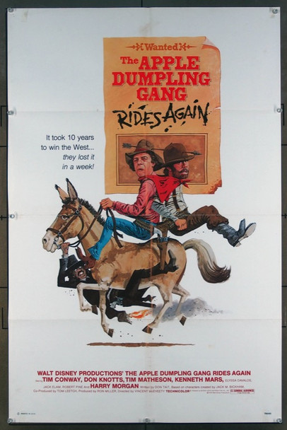 APPLE DUMPLING GANG RIDES AGAIN, THE (1979) 26145 Walt Disney Company Original One-Sheet Poster  27x41  Folded  Very Fine Condition