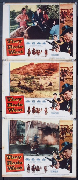 THEY RODE WEST (1954) 25705 Columbia Pictures Original Lobby Cards (11x14) A Grouping of Three Cards  Very Good Plus Condition