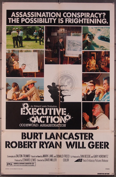 EXECUTIVE ACTION (1973) 1982 Original AVCO Embassy Pictures 1976 Re-Release One Sheet Poster (27x41).   Very Good Condition